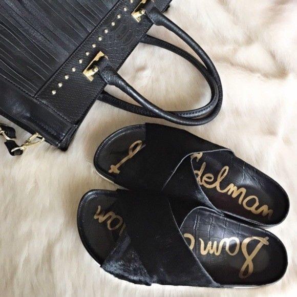 443905719ba8ab ... Sam Edelman Black Calf Hair Slip-On Adora Sandals super cheap 3fafd  2548b ...